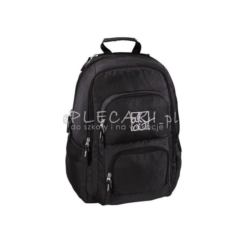 4bc23b06d4450 Czarny plecak gładki do szkoły 3 przegrody Hama dla chłopaka na laptopa