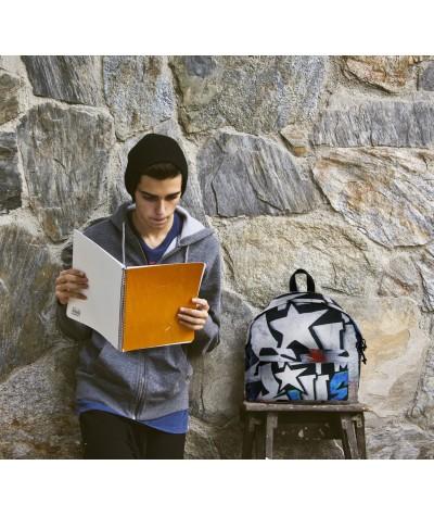 Plecak młodzieżowy - graffiti, biały z gwiazdami