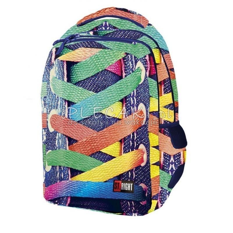 89c68dfb19997 Plecak młodzieżowy ST.RIGHT ze sznurówkami fullprint dla dziewczynki
