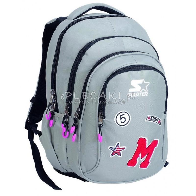 e0bd1a458dc Plecak szkolny dla chłopca STARTER 0068 - szary z naszywkami