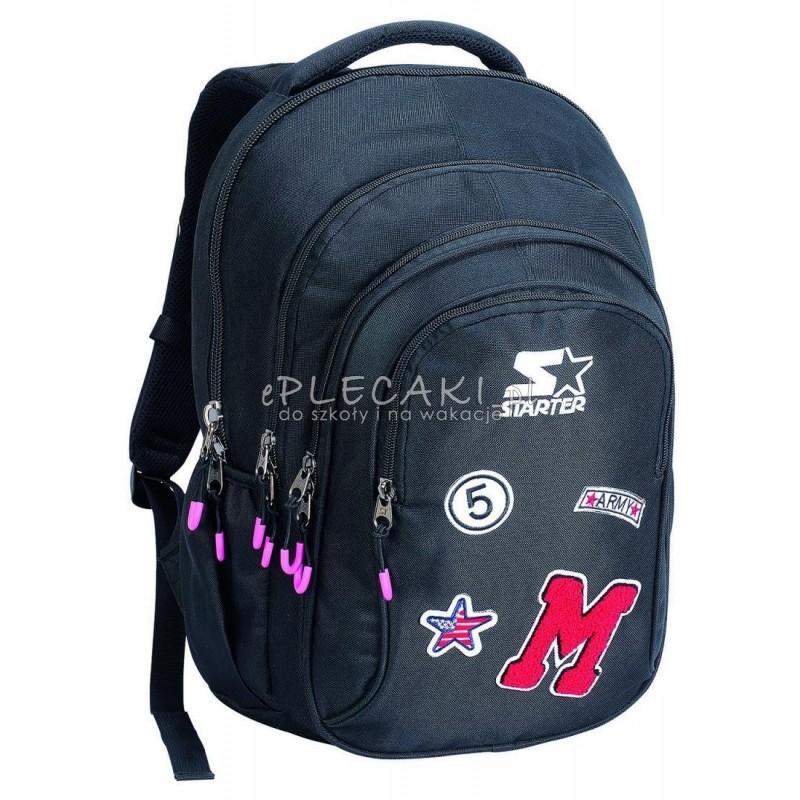 d1eeffa501642 Plecak szkolny dla chłopca STARTER 0068 - czarny z naszywkami
