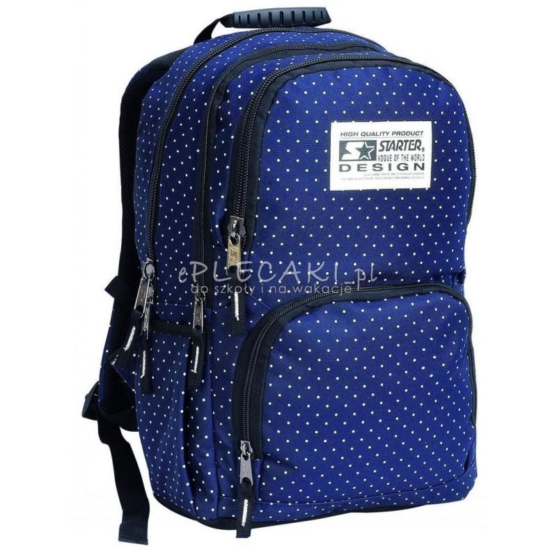 a6b810cd6a9ab Plecak szkolny dla dziewczynki STARTER 0063A - granatowy w kropki
