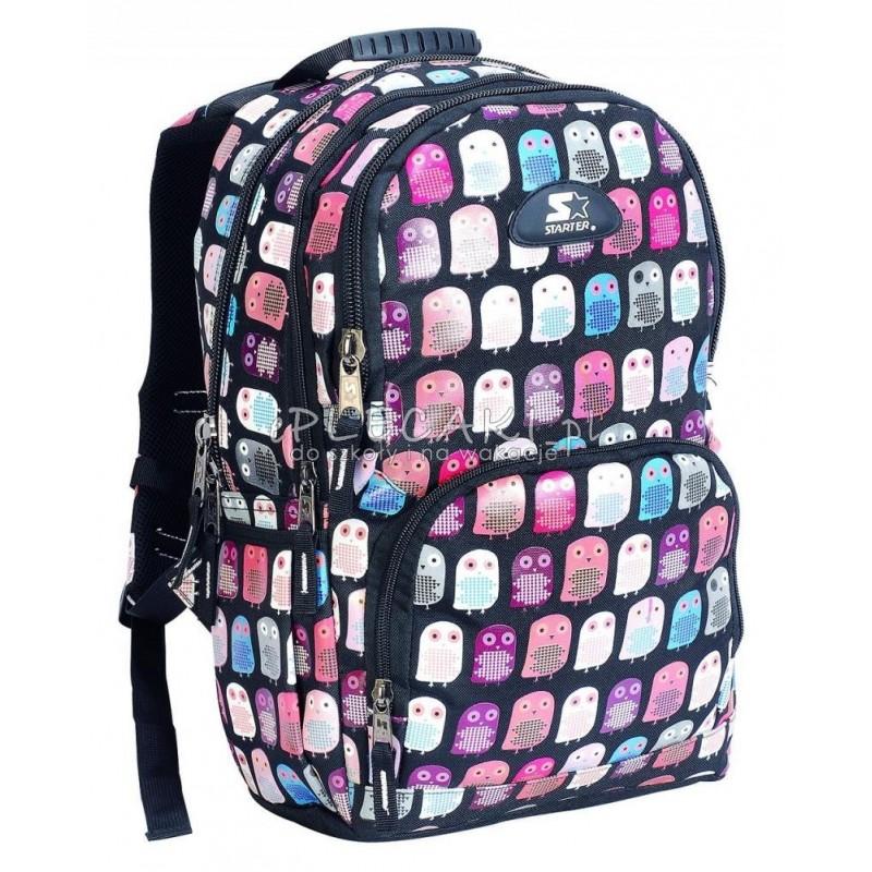 b6128fe145d69 Plecak szkolny dla dziewczynki STARTER 0063B - czarny w sówki