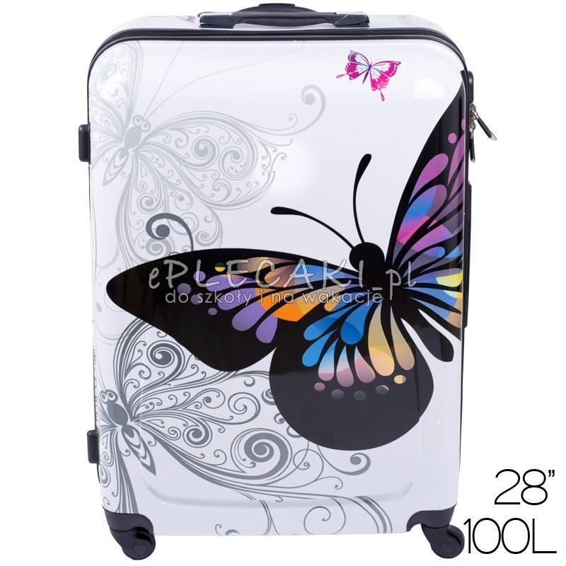 f1c2c53e9e33c Walizka duża twarda ABS Butterfly z motylem dla dorosłych.