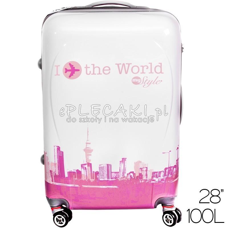 774ad769799d4 Walizka duża twarda ABS My world różowo-biała dla kobiety
