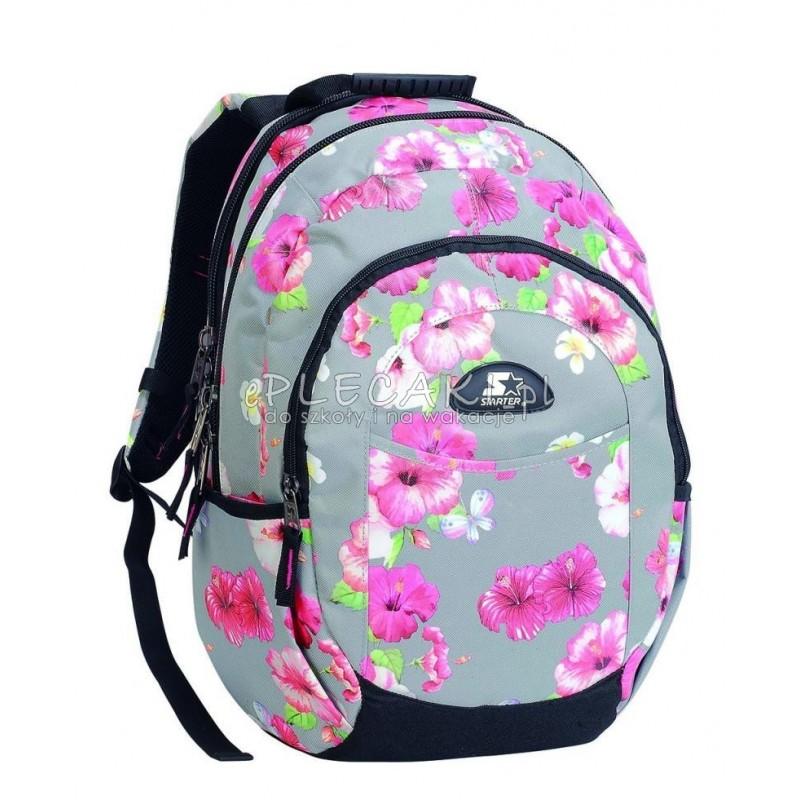 33b0220e5da04 Plecak szkolny dla dziewczynki STARTER 0096 - szary w kwiaty