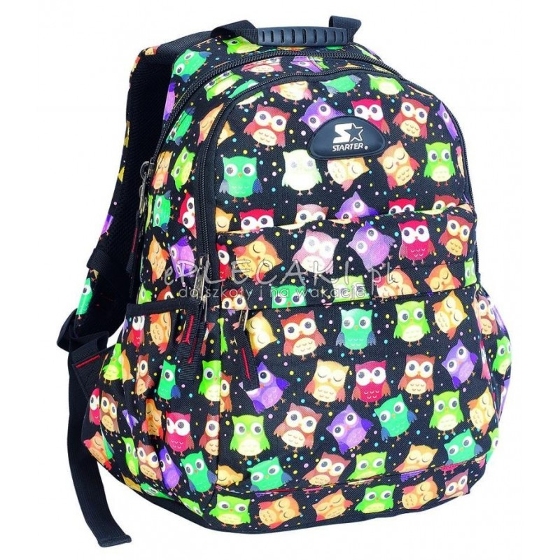 592c8b523a831 Plecak szkolny dla dziewczynki STARTER 0093B - czarny w sówki