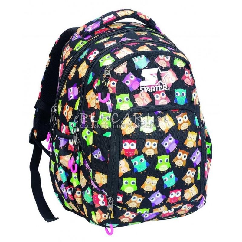 d882037350a Plecak szkolny dla dziewczynki STARTER 0061 - czarny w sówki