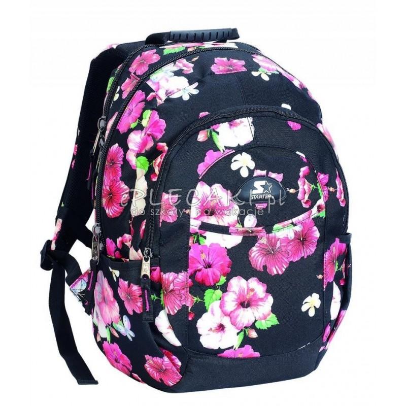 1648987c8f190 Plecak szkolny dla dziewczynki STARTER 0096 - czarny w kwiaty