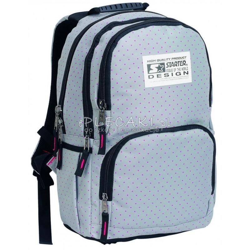 a0a4377c5bb8c Plecak szkolny dla dziewczynki STARTER 0063A - szary w kropki
