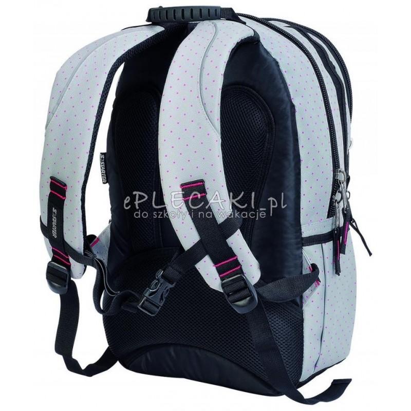 907d87f0c2dea Plecak szkolny dla dziewczynki STARTER 0063A - szary w kropki
