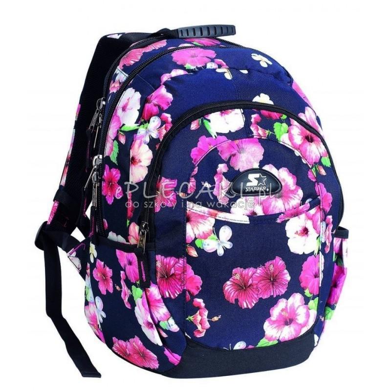 ab96ae2e18581 Plecak szkolny dla dziewczynki STARTER 0096 - granatowy w kwiaty