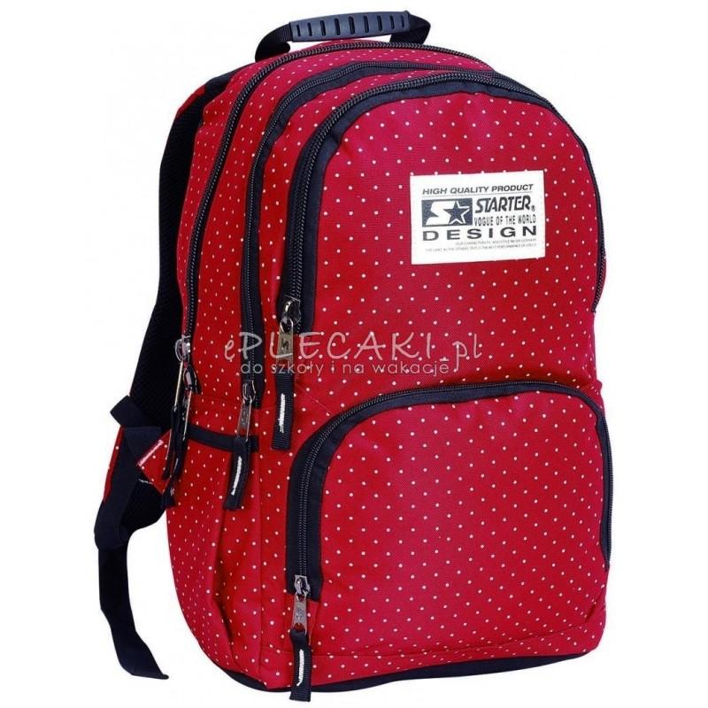 06db16d0cfa80 Plecak szkolny dla dziewczynki STARTER 0063A - czerwony w kropki