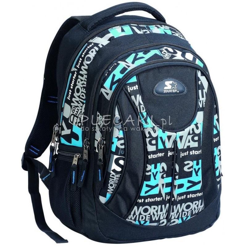9a30f23d9487 Plecak młodzieżowy do szkoły dla STARTER 0086 niebieskie napisy