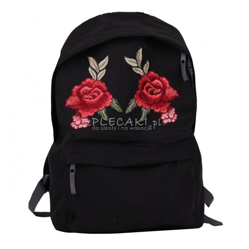 6d94cee85f4cf Plecak miejski z czerwoną różami - haftowana naszywka dla dziewczyny