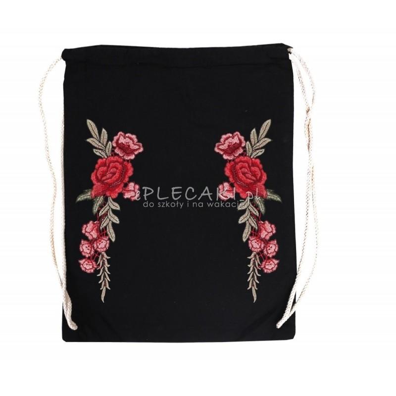 Plecak na sznurkach zdobiony haftem ROSES - czarny z różą