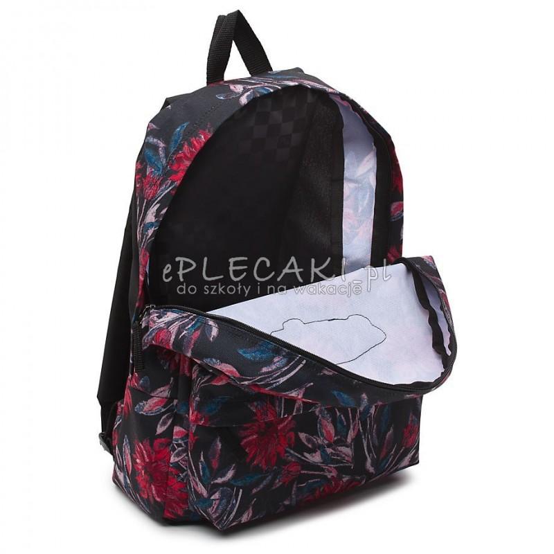 plecak vans czarny w czerwone kwiaty