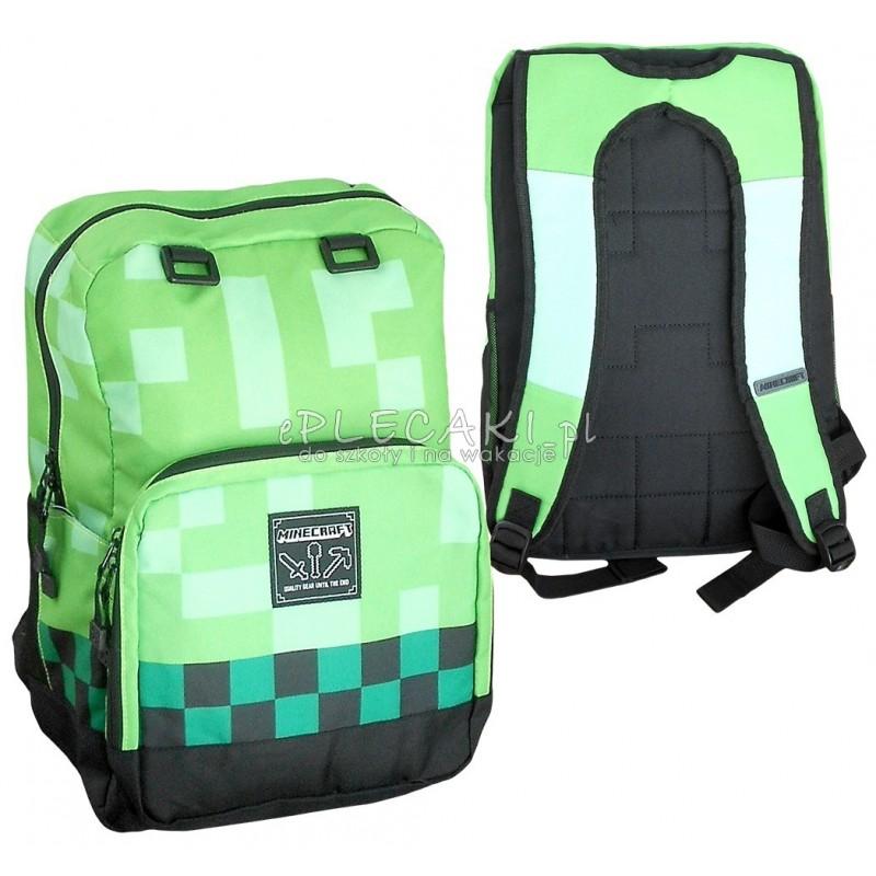 a91ca699002bc Plecak szkolny Minecraft zielony z kieszenią na laptopa dla chłopca