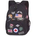 Plecak młodzieżowy CoolPack CP BENTLEY czarny z naszywkami BADGES BLACK, męski plecak naszywki, plecak z naszywkami dla chłopaka