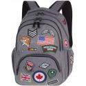 Plecak młodzieżowy CoolPack CP BENTLEY szary z naszywkami BADGES GREY, szary plecak z naszywkami, szary plecak naszywki military