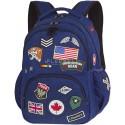 Plecak młodzieżowy CoolPack BENTLEY granatowy z naszywkami BADGES NAVY, modny plecak dla chłopaka, plecak dla chłopaka naszywki