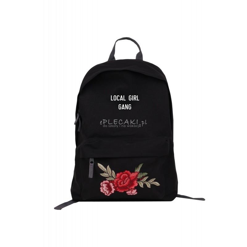 dfc1eb07160f8 ... Czarny plecak miejski z czerwonymi różami i napisem LOCAL GIRL GANG -  patch Roses