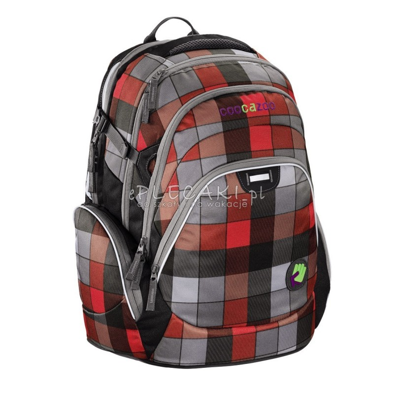 1037c73128927 Plecak szkolny Red District - Coocazoo JobJobber 2 - czerwono-czarna krata  - mocny plecak