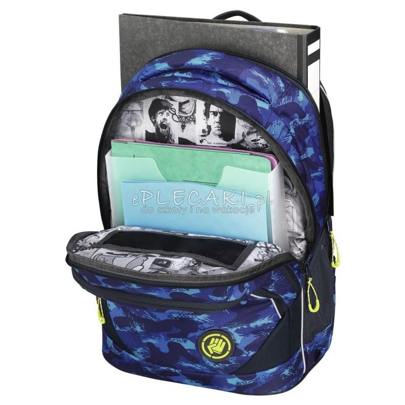 ff417f356de71 ... Plecak szkolny Brush Camou - Coocazoo EvverClevver 2 - niebieskie fale  MatchPatch - solidny plecak szkolny ...