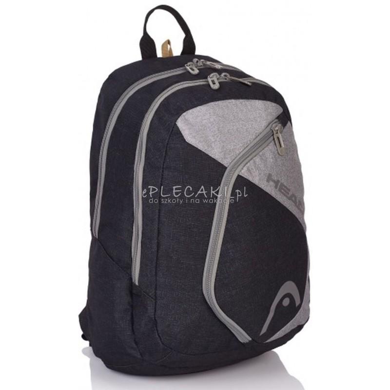 69b1ae2ea5c66 Plecak szkolny młodzieżowy na laptopa Head szaro-czarny dla chłopaka