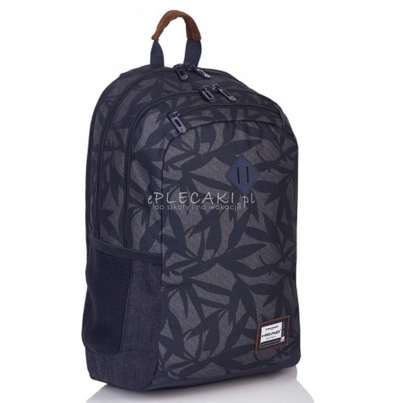 97d3a0aa7087d Plecak szkolny młodzieżowy na laptopa Head szary w liście dla chłopaka