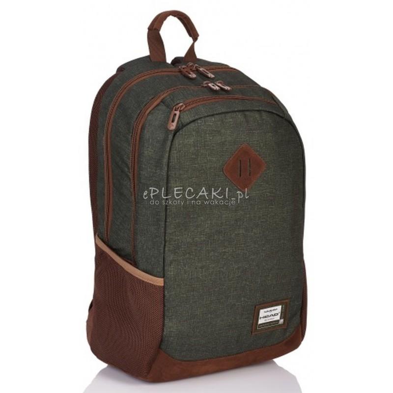 627ec3c411323 Plecak szkolny młodzieżowy Head ciemnozielony dla chłopaka