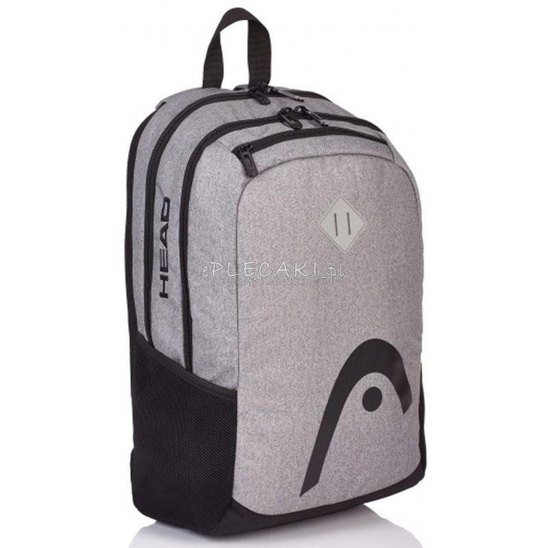 7d5a24d71613e Plecak szkolny młodzieżowy na laptopa Head szary dla chłopaka