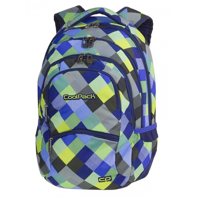 5fcf094661031 Plecak dla chłopców w niebieską kratkę z zielonymi kostkami Criss Cross