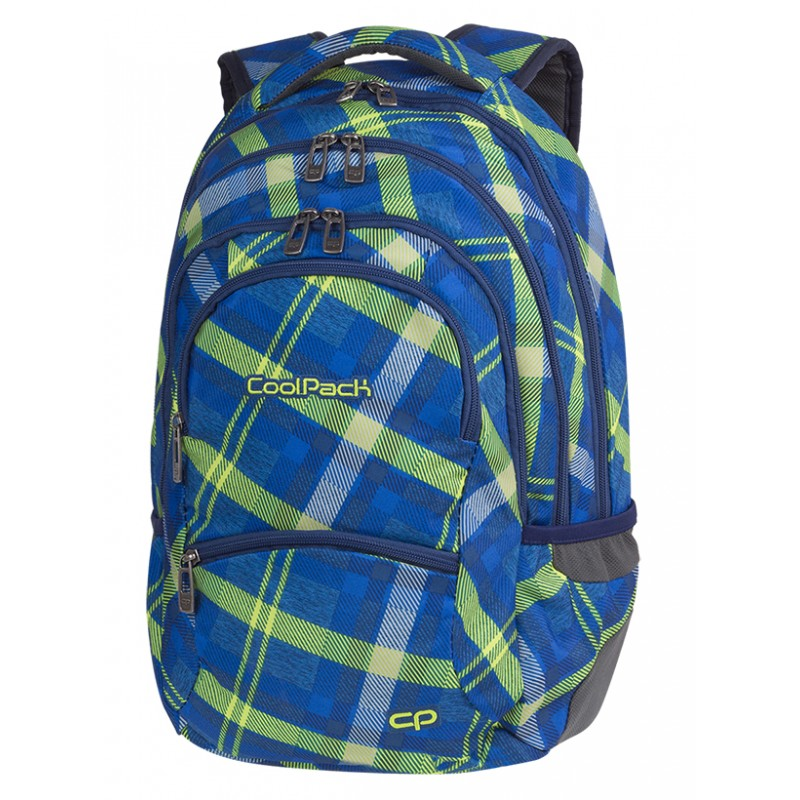 feabe58d01b49 Plecak młodzieżowy CoolPack CP COLLEGE SPRINGFIELD zielony w kratkę - 5  przegród - plecak w niebiesko