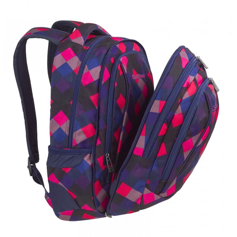 Plecak młodzieżowy CoolPack CP COMBO ELECTRIC PINK w różowe kwadraciki 2w1 A523