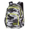 Plecak młodzieżowy COOLPACK CP BREAK CAMO YELLOW NEON w szare moro z dodatkami - neonowe żółte zamki dla chłopaków i dziewczyn