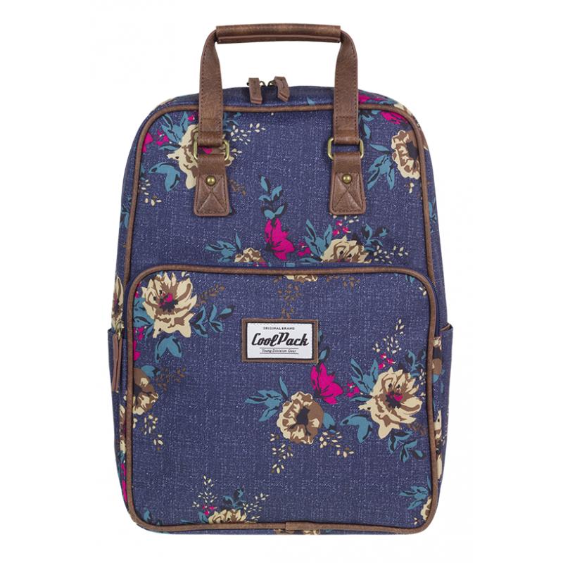 3b87cd72e48c7 Plecak miejski CoolPack CP CUBIC BLUE DENIM FLOWERS jeans w kwiaty vintage