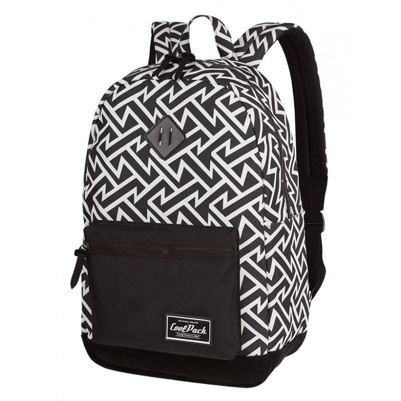 5fc278028f943 Plecak miejski CoolPack CP GRASP BLACK & WHITE TRIBAL geometryczne wzory,  czarno biały plecak dla