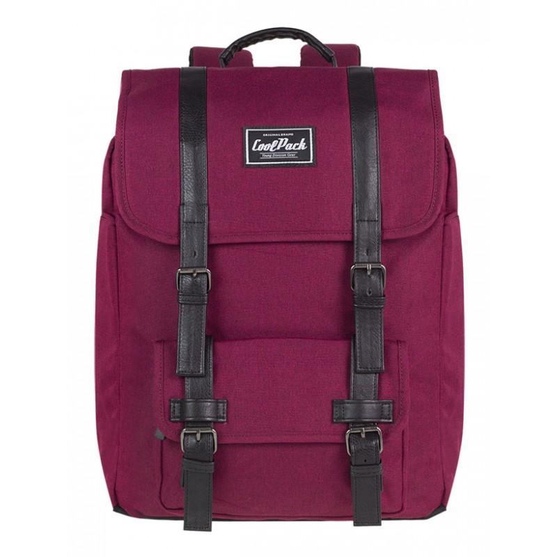 c14aa53d4b976 Plecak miejski CoolPack CP TRAFFIC BURGUNDY wiśniowy vintage na laptop - plecak  miejski dla dziewczny,
