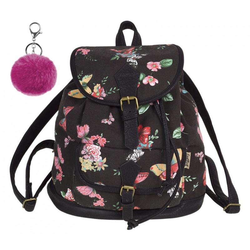 9d68973c8f16f Plecak vintage CoolPack CP FIESTA TWILIGHT w kwiaty A139 + GRATIS pompon.  Czarny plecak w
