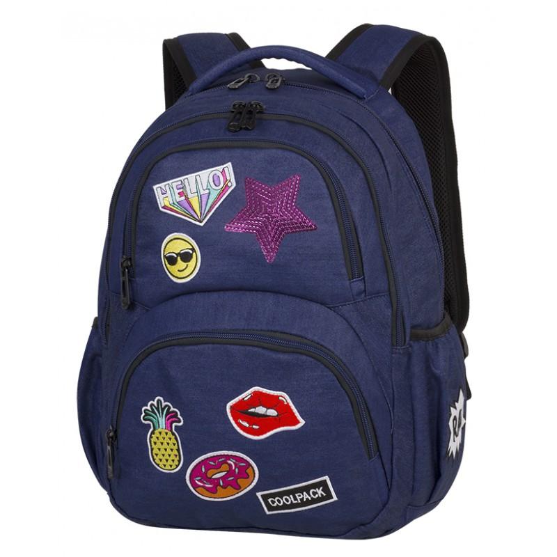 240718967b059 Plecak młodzieżowy CoolPack CP DART II Badges Girls Denim granatowy z  naszywkami, plecak z jeansu