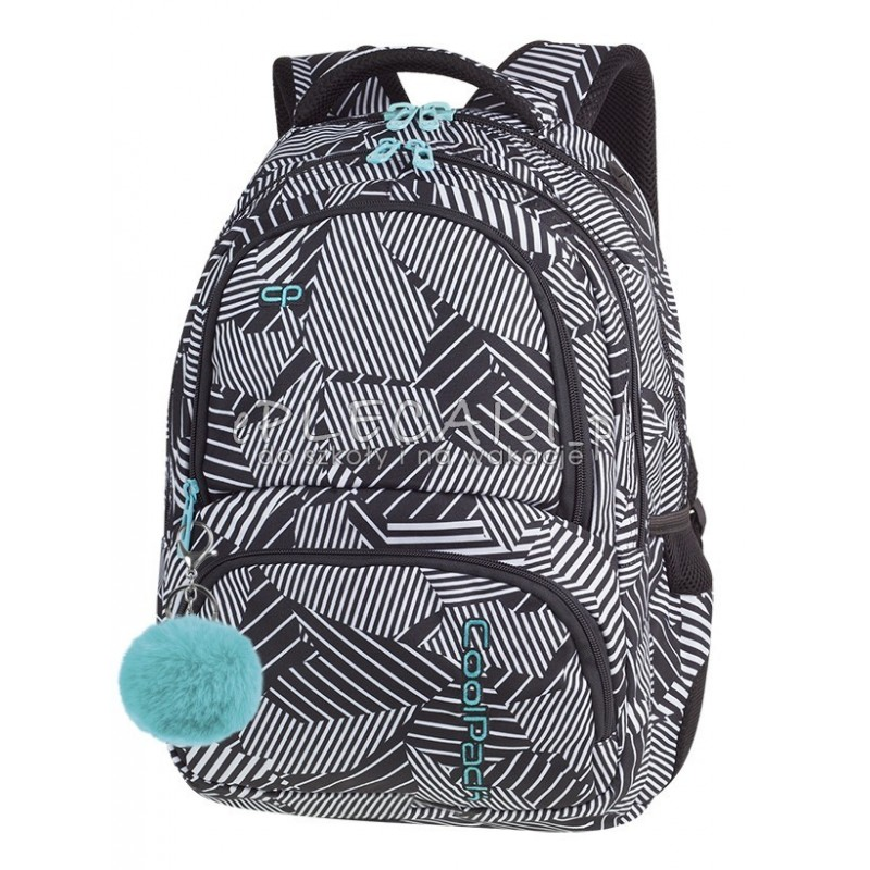 d535b69c39a4a Plecak młodzieżowy CoolPack CP SPINER BLACK   WHITE czarno biały A016 +  POMPON - fajny plecak