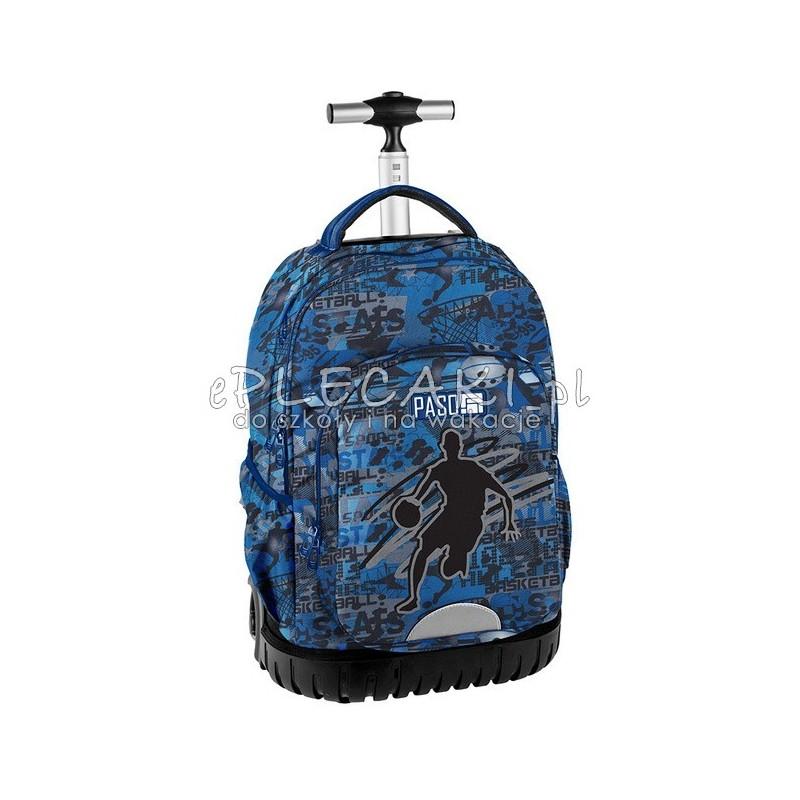 e25619cf4fa65 Plecak na kółkach z koszykówką Basketball dla chłopaka niebieski do szkoły  Paso