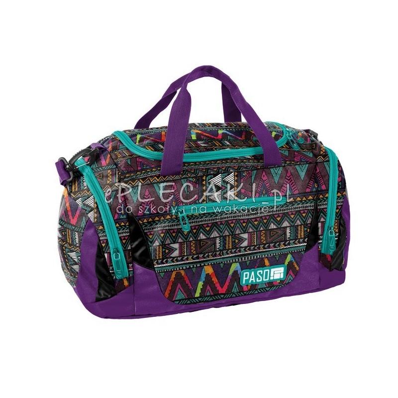732b1fb693a88 Fioletowa torba sportowa fitness z azteckim wzorem dla dziewczyny na trening