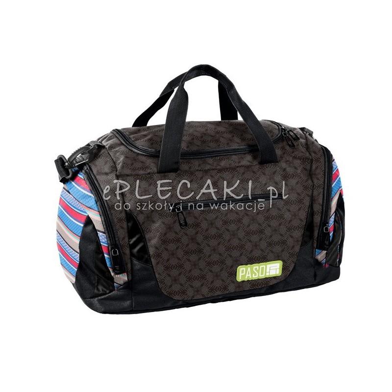 b5b0e980adaf4 Carna torba sportowa na trening dla młodzieży z kolorowymi paskami