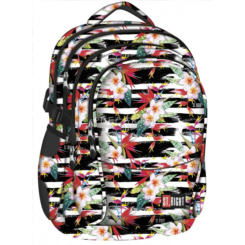7dd7e3da6ca22 ... Plecak młodzieżowy 01 ST.RIGHT TROPICAL STRIPES hibiskus -  najmodniejszy wzór plecaka szkolnego dla nastolatek ...