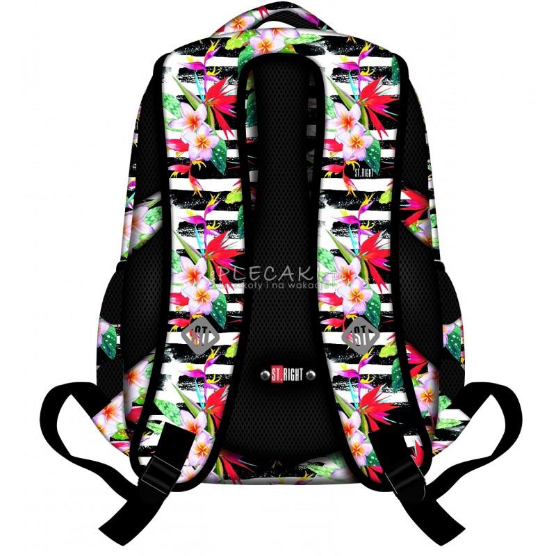 357723852c668 ... Plecak młodzieżowy 32 ST.RIGHT TROPICAL STRIPES hibiskus - modny plecak  do szkoły dla nastolatki ...