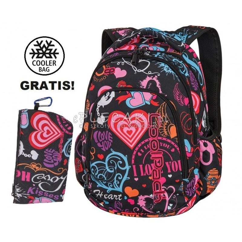 c3d5a10b1e37d Plecak do klas 1-3 CoolPack CP PRIME EMOTIONS czarny w serduszka dla  dziewczynki -