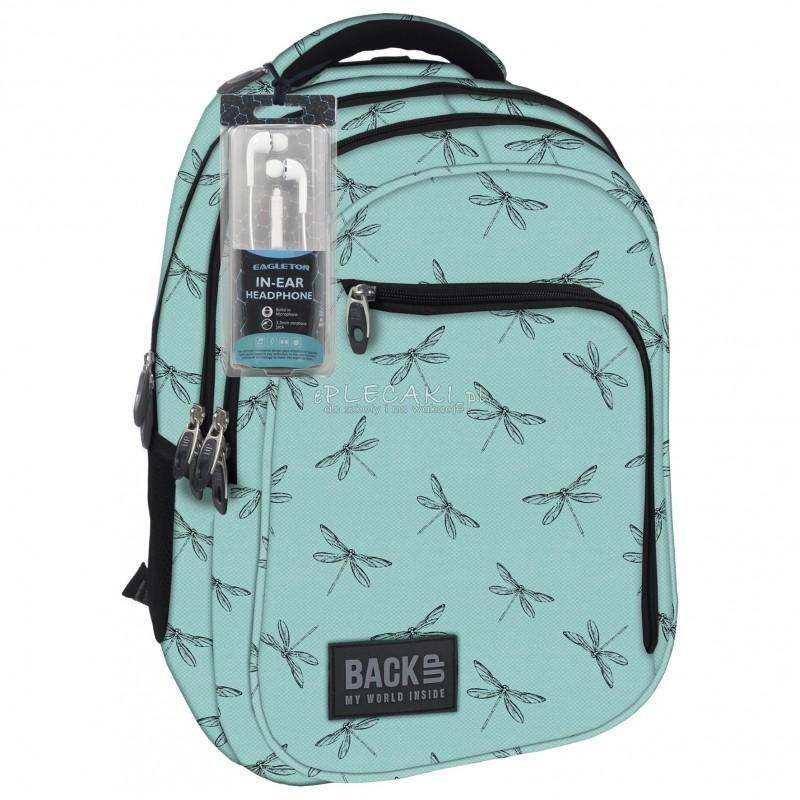 324436f111308 Plecak BackUP D 23 ważki do szkoły + GRATIS słuchawki - miętowy plecak dla  dziewczyny