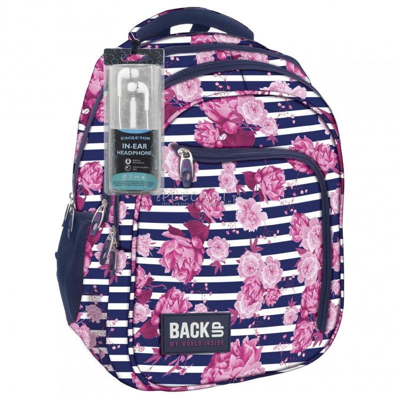f74b88732fef2 Plecak BackUP D 34 begonie do szkoły + GRATIS słuchawki - modny plecak dla  dziewczyny,